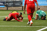 Jobi McAnuff of Leyton Orient (7) scores a goal and celebrates to make the score 0-2 during the Vanarama National League match between Harrogate Town and Leyton Orient at Wetherby Road, Harrogate, United Kingdom on 22 September 2018.