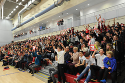 Bristol Flyers celebrate as their team score a three pointer in the BBL match between Bristol Flyers and Worcester Wolves at Wise Basketball Arena on January 17, 2015 in Bristol, England. - Photo mandatory by-line: Paul Knight/JMP - Mobile: 07966 386802 - 17/01/2015 - SPORT - Football - Bristol - SGS Wise Arena - Bristol Flyers v Worcester Wolves - Bristol Basketball League