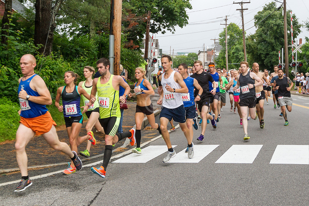 LL Bean Fourth of July 10K road race: start of race turning onto School Street