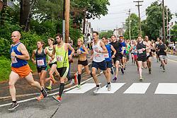 LL Bean Fourth of July 10K road race: start of race turning onto School Street