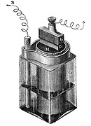 Leclance cell (c1866) a type of wet battery. Zinc rod, left, central porous cell is a carbon block surrounded by small pieces of carbon and manganese dioxide, and sealed with pitch: fluid a strong solution of chloride of ammonia. From A.Ganot 'Natural Philosophy', London, 1887. Engraving