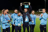 SYDNEY, AUSTRALIA - MAY 21: Sydney FC player Andrew Redmayne (1) holds up the A-League Champions Trophy at AFC Champions League Soccer between Sydney FC and Kawasaki Frontale on May 21, 2019 at Netstrata Jubilee Stadium, NSW. (Photo by Speed Media/Icon Sportswire)