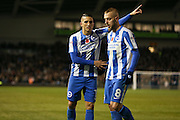 Brighton & Hove Albion winger Anthony Knockaert (11) gives instructions to Brighton & Hove Albion midfielder Jiri Skalak (8) during the EFL Sky Bet Championship match between Brighton and Hove Albion and Aston Villa at the American Express Community Stadium, Brighton and Hove, England on 18 November 2016. Photo by Phil Duncan.