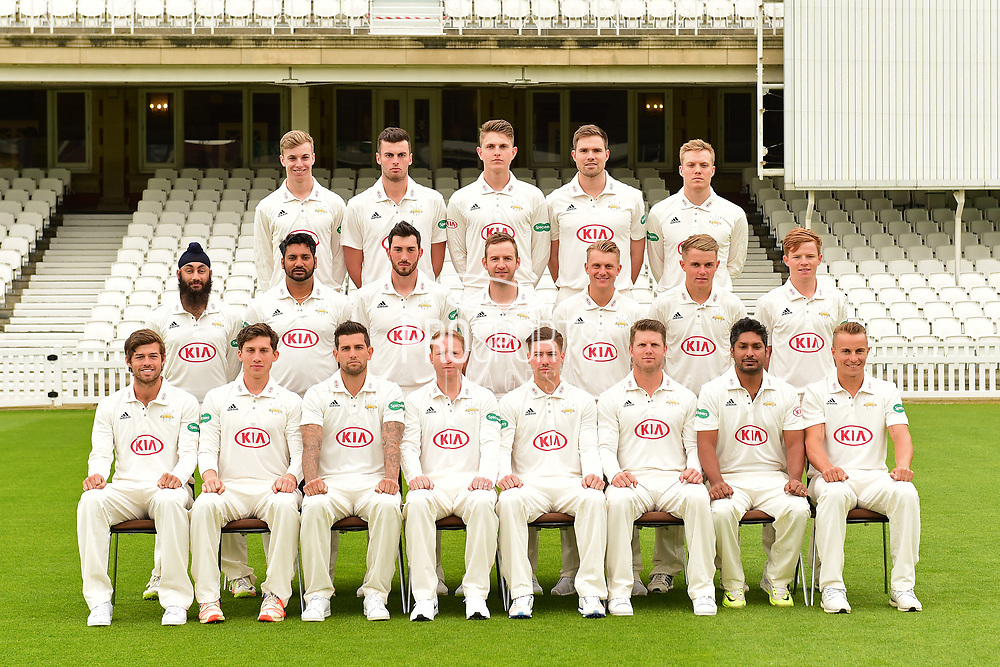 Team portrait during the Surrey CCC Photocall 2017 at the Oval, London, United Kingdom on 4 April 2017. Photo by Jon Bromley.