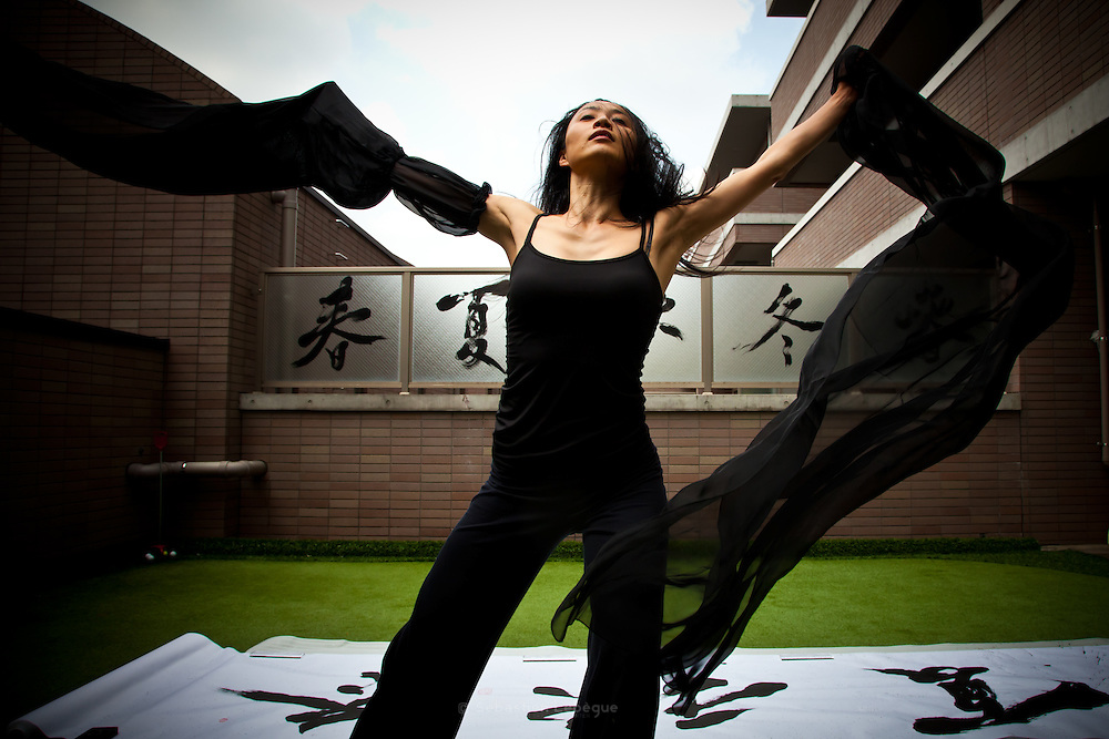 MAI-Nakanishi made a performance in her own home mixing dance and calligraphy. The black fabric sugest the ink and the red Calligraphic stamp. The japanese sign means spring, summer, automn, winter, and spring comes again.