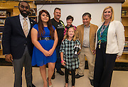Presentation of a prosthetic arm created with a 3D printer to 6-year-old Gracie Henderson at Washington High School, November 2, 2015.