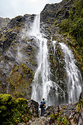 Earland Falls (178 m). <br /> The Routeburn Track in Fiordland National Park, near Te Anau, Southland region, South Island of New Zealand. In 1990, UNESCO honored Te Wahipounamu - South West New Zealand as a World Heritage Area. This image was stitched from multiple overlapping photos.