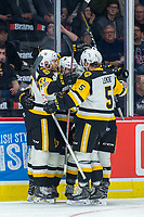 REGINA, SK - MAY 18:  The Hamilton Bulldogs celebrate a goal against the Regina Pats at the Brandt Centre on May 18, 2018 in Regina, Canada. (Photo by Marissa Baecker/Shoot the Breeze)
