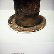 The top hat worn by President Abraham Lincoln the night he was assassination on display at an exhibit titled Changing America: The Emancipation Proclamation, 1863, and the March on Washington, 1963, at the Smithsonian Institution's National Museum of American History on the National Mall in Washington DC.