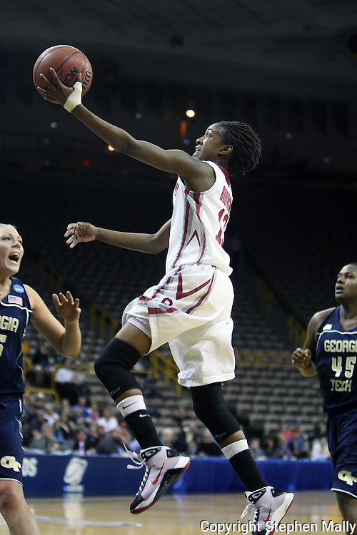 24 MARCH 2009: Oklahoma guard Danielle Robinson (13) puts up a shot during an NCAA Women's Tournament basketball game Tuesday, March 24, 2009, at Carver-Hawkeye Arena in Iowa City, Iowa. Oklahoma defeated Georgia Tech 69-50.