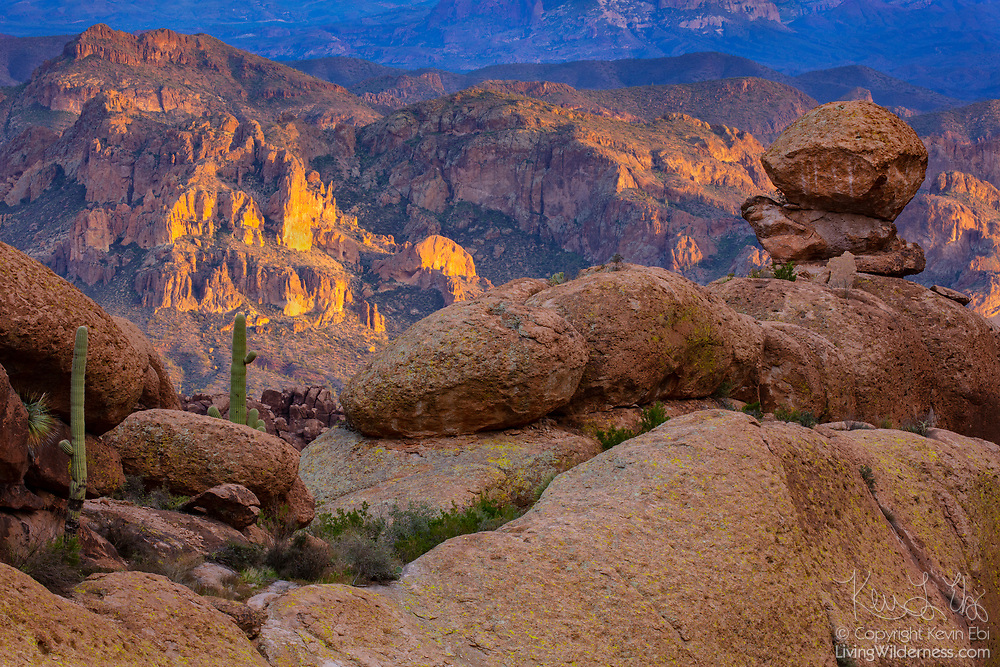 Steep rock faces on the north side of Tule Canyon are turned golden by the setting sun in this view from near Fremont Saddle in the Superstition Mountains of Arizona.