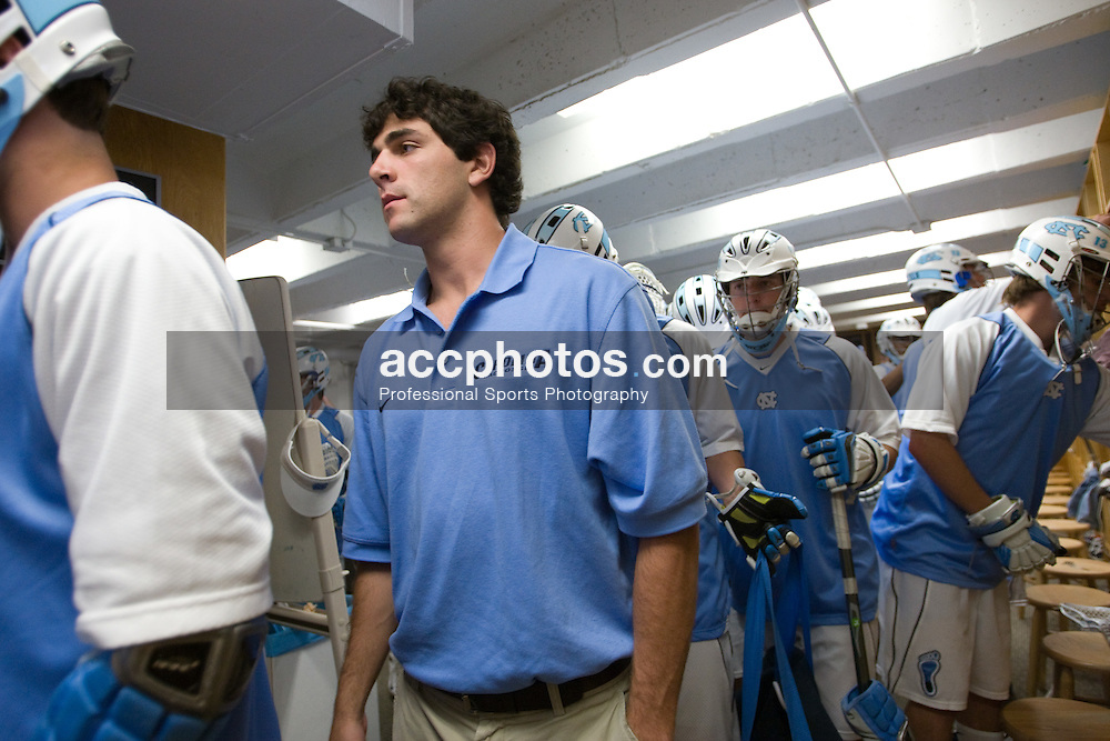 22 March 2008: North Carolina Tar Heels Jamie Debole in the locker room before playing the Maryland Terrapins at Fetzer Field in Chapel Hill, NC.