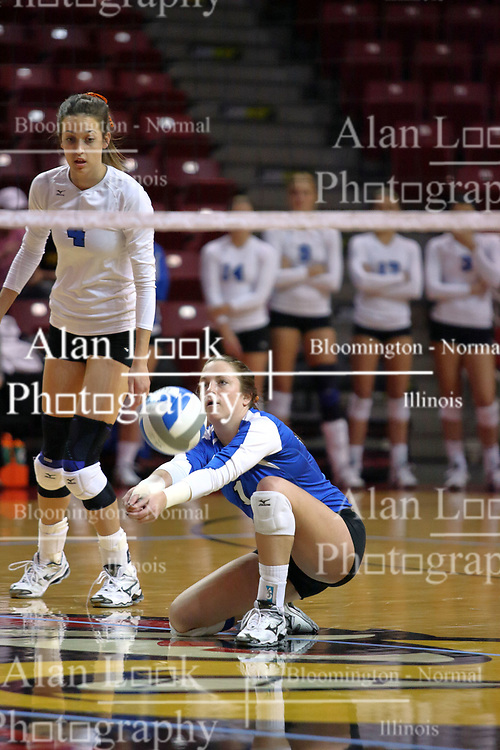 29 October 2011: Julianne Mandolfo goes to her knees for a dig During a match between the Creighton Bluejays and the Illinois State Redbirds at Redbird Arena in Normal Illinois