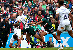 Nick Malouf of Leicester Tigers tackles Taulupe Faletau of Bath Rugby - Mandatory by-line: Robbie Stephenson/JMP - 03/09/2017 - RUGBY - Welford Road - Leicester, England - Leicester Tigers v Bath Rugby - Aviva Premiership
