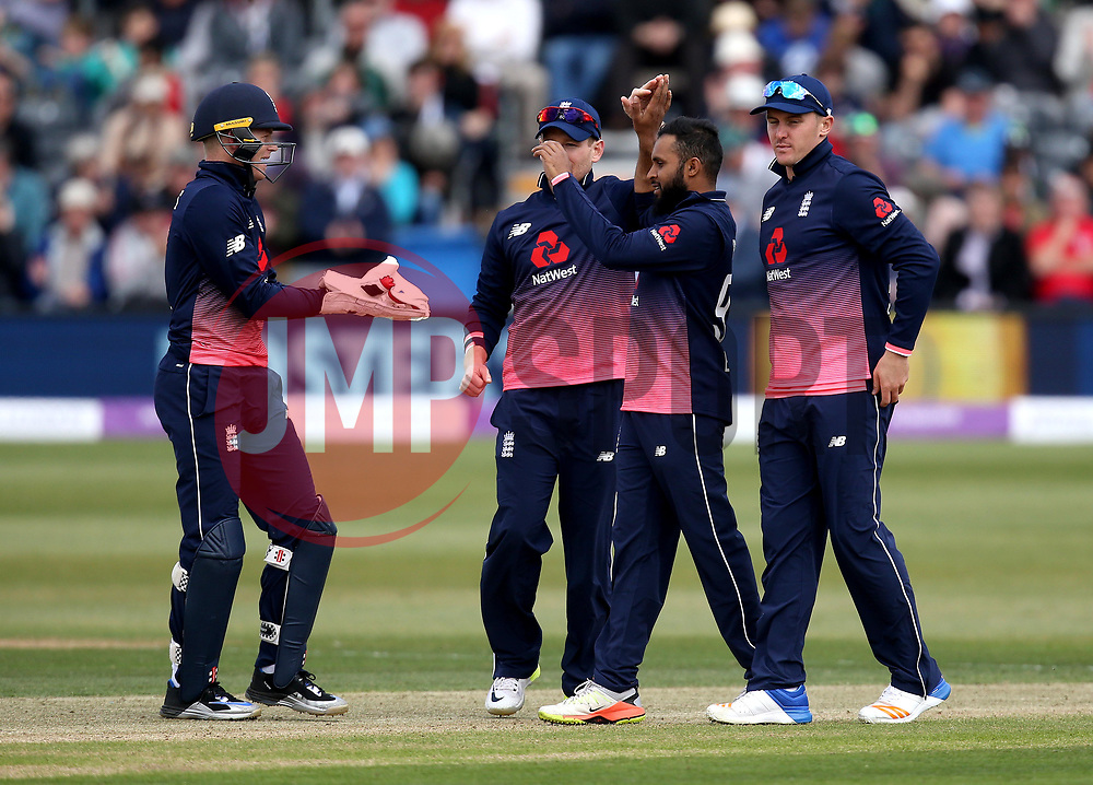 Adil Rashid of England celebrates taking the wicket of Niall O'Brien of Ireland - Mandatory by-line: Robbie Stephenson/JMP - 05/05/2017 - CRICKET - Brightside County Ground - Bristol, United Kingdom - England v Ireland - Royal London One Day Cup