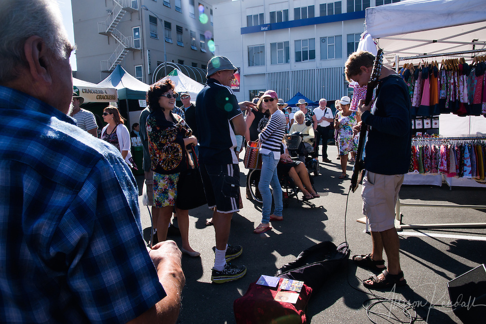 Scenes from The Nelson Saturday Market, full of art, music, handmade crafts and local wares. The iconic event is popular with tourists and the locals of Nelson, New Zealand alike.