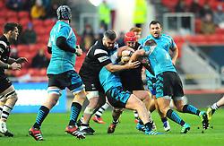 Luke Morahan of Bristol Bears is tackled by Vitalii Orlov of Enisei-STM- Mandatory by-line: Nizaam Jones/JMP - 19/01/2019 - RUGBY - Ashton Gate Stadium - Bristol, England - Bristol Bears v Enisei-STM - European Rugby Challenge Cup