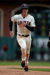 SAN FRANCISCO, CA - MAY 26: Mike Yastrzemski #5 of the San Francisco Giants runs to third base against the Arizona Diamondbacks during the seventh inning at Oracle Park on May 26, 2019 in San Francisco, California. The Arizona Diamondbacks defeated the San Francisco Giants 6-2. (Photo by Jason O. Watson/Getty Images) *** Local Caption *** Mike Yastrzemski