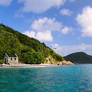 Abandoned stone structure on the shore of Whistling Cay, a small island off St. John in the US Virgin Islands.
