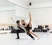 Carlos Acosta and Pieter Symonds rehearsing in the Fontayne Studio at the Royal Opera House Covent Garden, London, Great Britain <br /> 20th July 2015 <br />  <br /> <br /> Rehearsals for 'Derrumbe' choreographed by Miguel Altunaga and danced by Carlos Acosta and Pieter Symonds as part of Cubania at the ROH (27 Jul - 2 Aug)<br /> <br /> <br /> Photograph by Elliott Franks <br /> Image licensed to Elliott Franks Photography Services