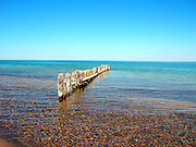 Stones and pebbles of every imaginable color are clearly visible through the crystal-clear, chilly water of Lake Superior, at Whitefish Point, in Michigan's Upper Peninsula. The clarity of the water, here, is perhaps greater than at any other place that I have ever visited.