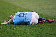 Manchester City Women's defender Steph Houghton (6) lies injured during the FA Women's Super League match between Manchester City Women and Brighton and Hove Albion Women at the Sport City Academy Stadium, Manchester, United Kingdom on 27 January 2019.