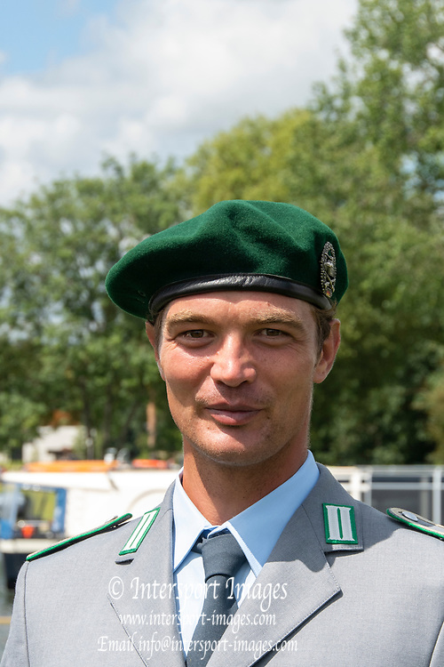 Henley on Thames, England, United Kingdom, Tuesday, 02.07.19, Tim GROHMANN, GER, Olympic Gold Medallist, M4X, London 2012, wearing the uniform of the German Bundeswehr, Henley Royal Regatta,  Henley Reach, [©Karon PHILLIPS/Intersport Images]<br /> <br /> 12:19:12 1919 - 2019, Royal Henley Peace Regatta Centenary,