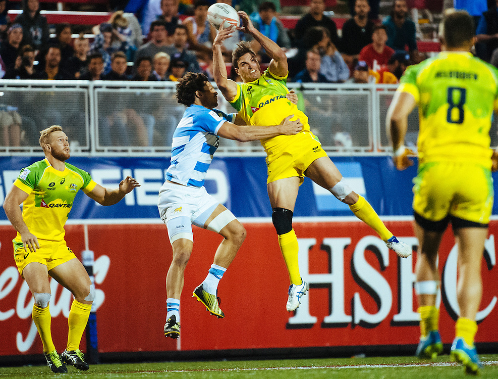 Australia take on Argentina in the Cup Quarter Finals of the 2016 USA Sevens leg of the HSBC Sevens World Series at Sam Boyd Stadium  Las Vegas, Nevada. Saturday March 5, 2016.<br /> <br /> Jack Megaw for USA Sevens.<br /> <br /> www.jackmegaw.com<br /> <br /> 610.764.3094<br /> jack@jackmegaw.com