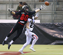 05.11.2016, Albert Schultz Halle, Wien, AUT, Arena Bowl 2016, Team White vs Team Black, im Bild Philipp Haun (Team Black, #80, Wide Receiver, Danube Dragons) und  Johannes Winter (Team White, #25, Cornerback, Projekt Spielberg Graz  Giants) // during the Arena Bowl 2016 between Team White vs Team Black at the Albert Schultz Ice Arena, Vienna, Austria on 2016/11/05. EXPA Pictures © 2016, PhotoCredit: EXPA/ Thomas Haumer
