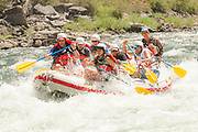 White water paddle boat in The Impassible Canyon on the Middle Fork of the Salmon River during six day rafting vacation, Idaho.