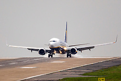 © Licensed to London News Pictures. 30/04/2018. Leeds UK. A Ryan Air flight from Dublin has a bumpy landing in strong cross winds this morning at England's highest airport, Leeds Bradford International. Photo credit: Andrew McCaren/LNP