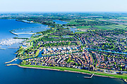 Nederland, Noord-Holland, Medemblik, 07-05-2018; overzicht van het de stad inclusief jachthavens en Kasteel Radboud. <br /> Overview of the city including marinas and Radboud Castle.<br /> <br /> luchtfoto (toeslag op standard tarieven);<br /> aerial photo (additional fee required);<br /> copyright foto/photo Siebe Swart