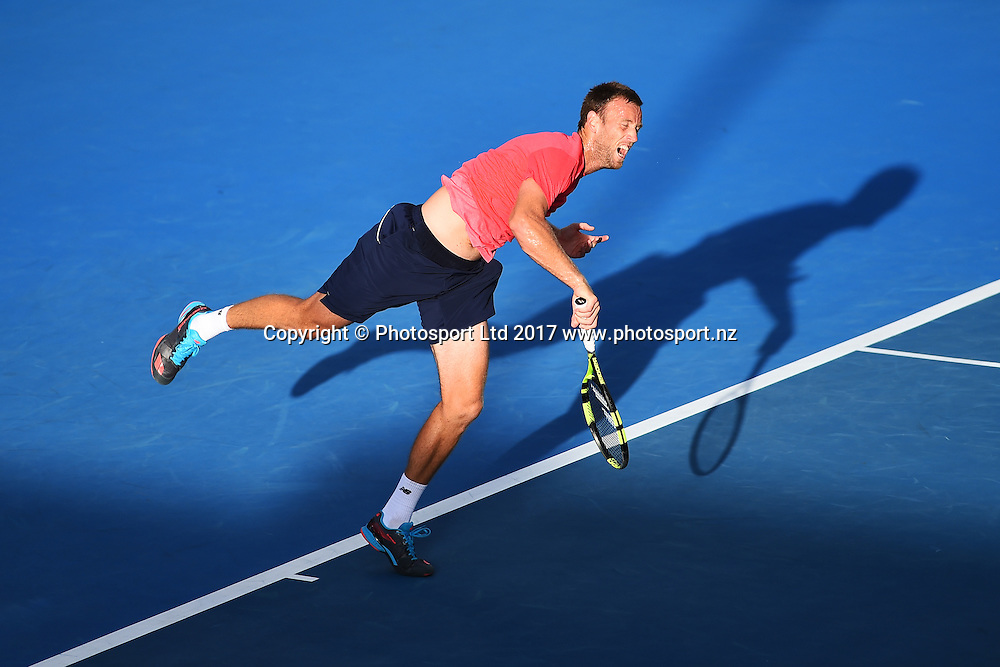 Michael Venus during the ASB Classic ATP Mens Tournament Day 1. ASB Tennis Centre, Auckland, New Zealand. Monday 9 January 2017. ©Copyright Photo: Chris Symes / www.photosport.nz