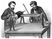 Phonautograph (c 1857) apparatus for studying sound vibrations graphically, invented by (Edouard) Leon Scott de Martinville. Tuning fork vibrated by bow or iron rod, and vibration traced on cylinder coated with lampblack. Engraving, 1872