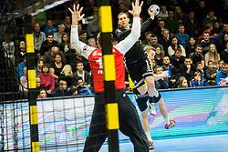 Nik Tominec of Kadetten Schaffhausen during handball match between RK Gorenje Velenje and Kadetten Schaffhausen in VELUX EHF Champions League, on November 25, 2017 in Rdeca Dvorana, Velenje, Slovenia. Photo by Ziga Zupan / Sportida