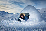 Charlotte Crosby TLC Travel show Day two of the Igloolik Expedition. Charlotte in her Igloo