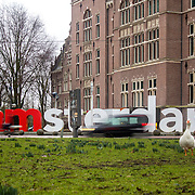 AMSTERDAM, NETHERLANDS - FEBRUARY 07: I Amsterdam welcome city sign in The Tropenmuseum, on February 10, 2015 in Amsterdam.