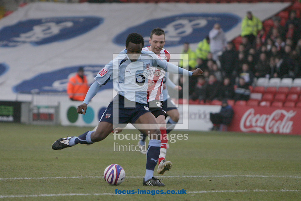 Lincoln - Saturday, January 10th, 2009: Brentford's Marcus Bean scores his side's first goal during the League Two match at Sincil Bank, Lincoln. (Pic by Mark Chapman/Focus Images)