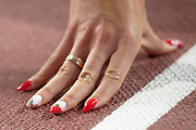 Justyna Swiety-Ersetic (Poland) hand / nails, before the 400 Metres Women Final during the 2019 IAAF World Athletics Championships at Khalifa International Stadium, Doha, Qatar on 3 October 2019.