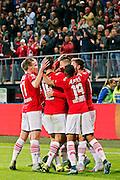 ALKMAAR - 26-09-2015, AZ - Heracles Almelo, AFAS Stadion, 3-1, AZ speler Jeffrey Gouweleeuw wordt gefeliciteerd na zijn doelpunt, 2-0.