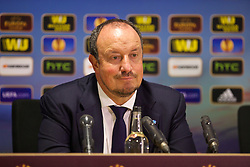 SWANSEA, WALES - Thursday, February 20, 2014: SSC Napoli's head coach Rafael Benitez at a post-match press conference after the UEFA Europa League Round of 32 1st Leg match against Swansea City at the Liberty Stadium. (Pic by David Rawcliffe/Propaganda)