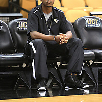 Jeff Jordan of the University of Central Florida Knights mens basketball team watches the warm up against the West Florida Argonauts in the first home game of the 2010 season at the UCF Arena on November 12, 2010 in Orlando, Florida. UCF won the game 115-61. Jordan will not play this season due to NCAA transfer rules. (AP Photo/Alex Menendez)