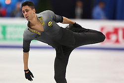January 17, 2018 - Moscow, Russia - Figure skater Chafik Besseghier of France performs his short program during a men's singles competition at the 2018 ISU European Figure Skating Championships, at Megasport Arena in Moscow, Russia  on January 17, 2018. (Credit Image: © Igor Russak/NurPhoto via ZUMA Press)