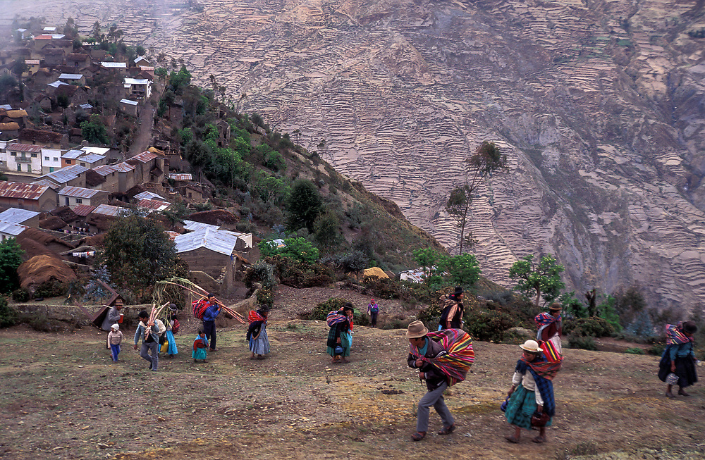 Revellers ascend from the remote village of Curva towards the cemetary during the Day of The Dead festivities, where they share their drinks and feast with the spirits of the dead. Curva is home to the Kallawaya Indians who practice shamanistic medicine.