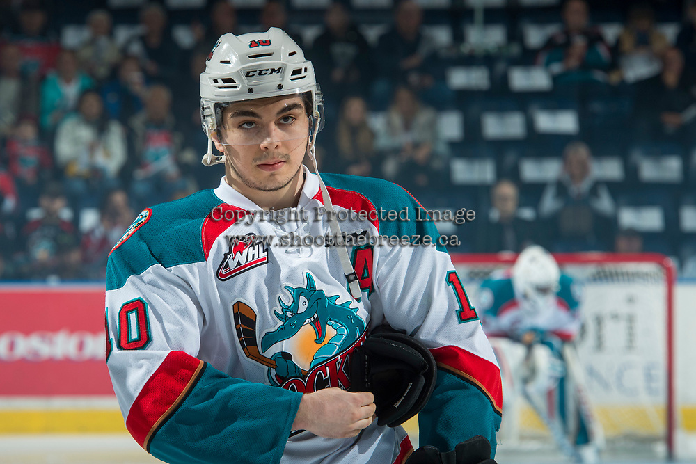 KELOWNA, CANADA - APRIL 7: Nick Merkley #10 of the Kelowna Rockets lines up against the Portland Winterhawks on April 7, 2017 at Prospera Place in Kelowna, British Columbia, Canada.  (Photo by Marissa Baecker/Shoot the Breeze)  *** Local Caption ***