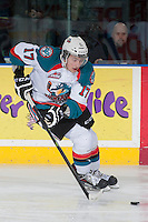 KELOWNA, CANADA -FEBRUARY 7: Marek Tvrdon #17 of the Kelowna Rockets skates with the puck against the Edmonton Oil Kings on February 7, 2014 at Prospera Place in Kelowna, British Columbia, Canada.   (Photo by Marissa Baecker/Getty Images)  *** Local Caption *** Marek Tvrdon;