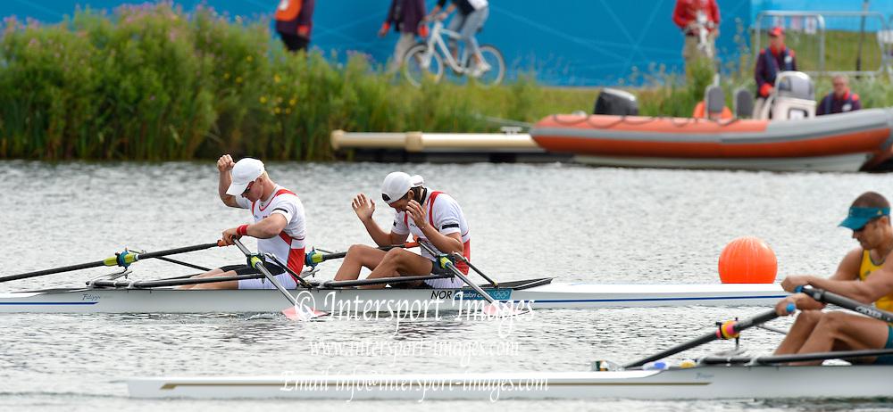 Eton Dorney, Windsor, Great Britain,..2012 London Olympic Regatta, Dorney Lake. Eton Rowing Centre, Berkshire[ Rowing]...Description;  Men's B Final Double Sculls.  NOR M2X, Nils Jakob HOFF (b) , Kjetil BORCH (s)   AUS.M2X. David CRAWSHAY (b) , Scott BRENNAN (s).. Dorney Lake. 09:56:27  Thursday  02/08/2012.  [Mandatory Credit: Peter Spurrier/Intersport Images].Dorney Lake, Eton, Great Britain...Venue, Rowing, 2012 London Olympic Regatta...