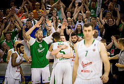 Stevan Milosevic #11 of KK Union Olimpija, Gregor Hrovat #15 of KK Union Olimpija and Devin Oliver #5 of KK Union Olimpija react during basketball match between KK Union Olimpija and KK Rogaska in 4th Final game of Liga Nova KBM za prvaka 2016/17, on May 24, 2017 in Hala Tivoli, Ljubljana, Slovenia. Photo by Vid Ponikvar / Sportida