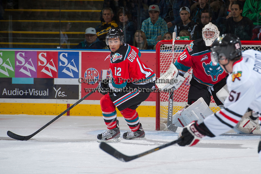 KELOWNA, CANADA - OCTOBER 5:  Tyrell Goulbourne #12 of the Kelowna Rockets skates on the ice against the Portland Winterhawks  at the Kelowna Rockets on October 5, 2013 at Prospera Place in Kelowna, British Columbia, Canada (Photo by Marissa Baecker/Shoot the Breeze) *** Local Caption ***