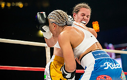Ema Kozin of Slovenia in action against Maria Lindberg of Sweden during their WBC, IBO, IBA, WBF and WIBA supermiddleweight World Championship titles fight, on October 6, 2019 in Arena Stozice, Ljubljana, Slovenia. Photo by Vid Ponikvar / Sportida